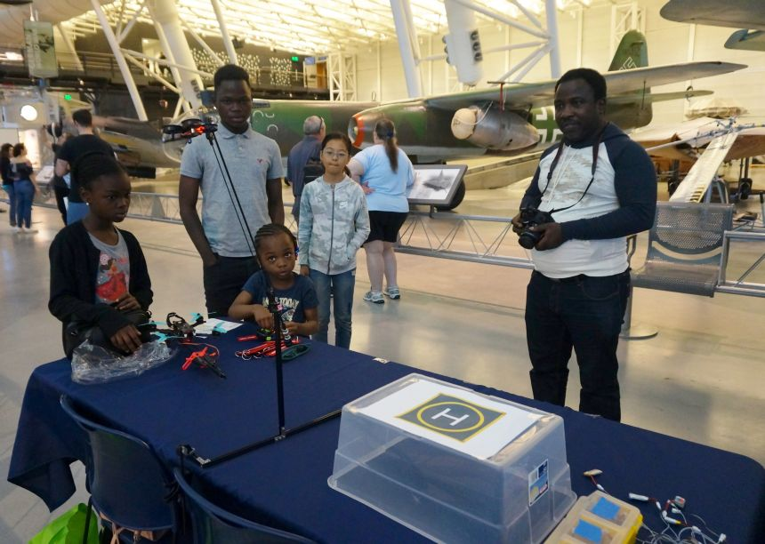 NASM Innovations 2019 drone pilot and his children